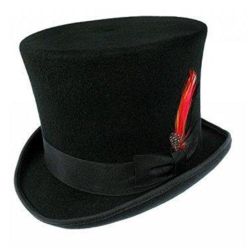 Viktorianischer Stil 15,2cm hoch schwarz Wollfilz Top Hut mit Feder Gr. 57 cm M, (Viktorianischer Hut)