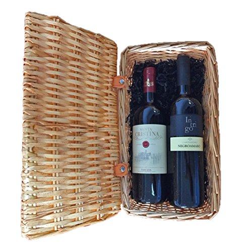 Gourmetkorb Italienische Rotweine mit 1x Santa Cristina Antinori Merlot und 1x Negroamaro Intrigo in schönem Weiden-Geschenkkorb (Geschenk-korb Mit Wein)