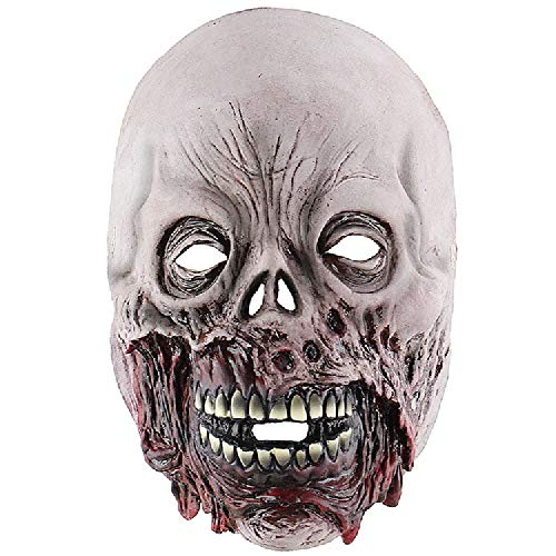Fjiujin,Scary Movie Cosplay Halloween Kostüm Requisiten Teufel Maske Zombie faules Gesicht(Color:GRAU)