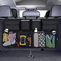 URAQT Car Boot Organiser Waterproof Kick Mats Car Organiser Seat Back Protectors, Multi-Pocket Children's Travel Storage, Durable Foldable Cargo Net Storage for Car Backseat Cover