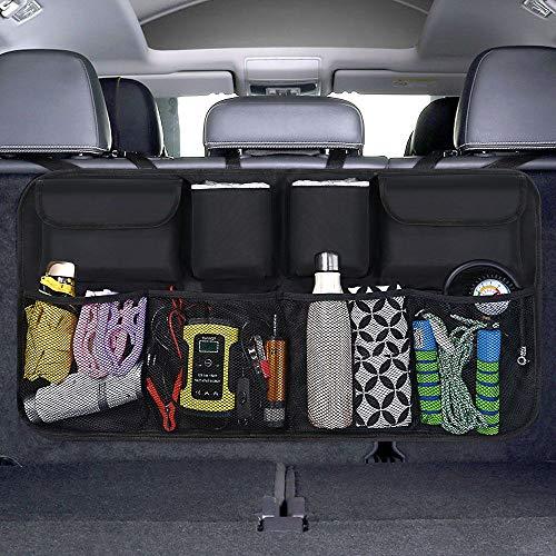 URAQT Kofferraum Organizer Auto, Kofferraumtasche Auto mit [Starkes elastisches Netz & 4 Zauberstabstruktur ] für alle Arten von Limousine Heckklappe/SUV/MVP ordentlich Veranstalter Schwarz