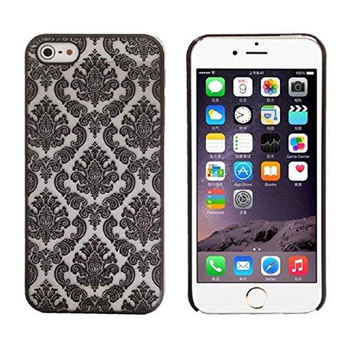 Aprtwin Étui Transparent en TPU Silicone pour Apple iPhone 6 / 6S en Transparent Fleur de Prunier Design[Style 01] Noir