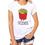 HUIHUI Frauen Casual T-Shirt Kurzärmelige Unregelmäßige Tops Damen Elegant Shirt Strassenbande T-Shirt Pommes Frites Drucken Lose Kurzarm Crop Top Weste Sommer Vest Tank (S, Weiß)