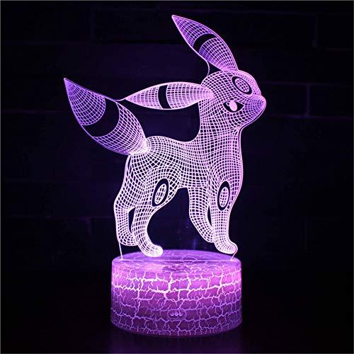 cht Nachttischlampe Für Kinder LED Tischleuchte Dekoratives Licht 7 Farben Andern Touch Switch Acryl USB Batterie Crack Basis Pokemon Fernbedienung ()