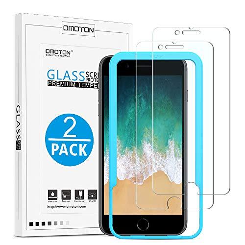 [2 Stück] OMOTON Panzerglas Displayschutzfolie für iPhone 8 und iPhone 7, 9H Härte, Anti-Kratzen, Anti-Öl, Anti-Bläschen, 2.5D