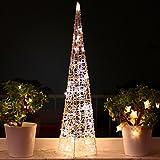 Weihnachtspyramide 90cm LED Pyramide Warmweiß Leuchtpyramide Weihnachtsdeko Lichtkegel groß (90cm)