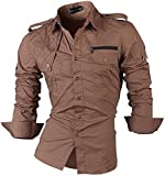 Jeansian Herren Freizeit Hemden Shirt Tops Mode Langarmshirts Slim Fit 8371 (USA S (165-170cm 60kg-65kg), 8371_Khaki)