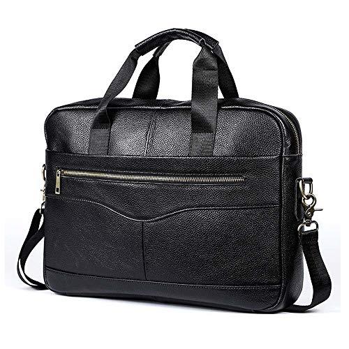 Jxth Klassische Business Satchel Laptoptasche Herren Leder Aktentasche Laptop Handtasche Messenger Business Bag für das College-Arbeitsamt (Farbe : Schwarz) -