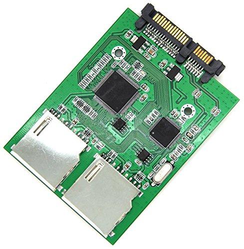 Preisvergleich Produktbild 2 Port Dual SD SDHC Secure Digital MMC Memory Card RAID to 7+15P SATA Serial ATA Adapter Converter, No SD Card Size Limit