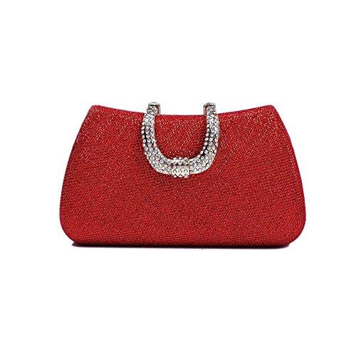 xiaoxuan coreano moda elegante Inlaid diamante partito di sera poliestere borsa Pure Colour, Black (nero) - BG00012D Red