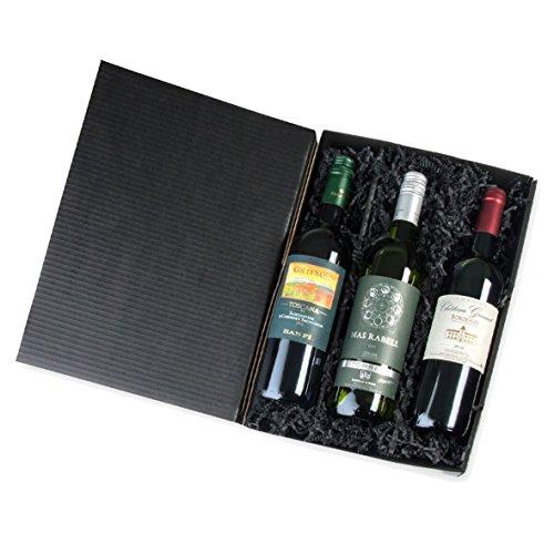 Geschenkbox Mediterrane Weinreise durch Italien, Spanien, Frankreich 2 x 0,75 l Rotwein, 1 x 0,75 l Weißwein, alles in Präsentbox geschenkfertig