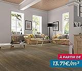 Revêtement de sol souple, parquet grand passage - 2,42m² - Boîte de 11 lames en PVC clipsables (dimension lame : 122x18cm) - imitation bois - Bois brun naturel