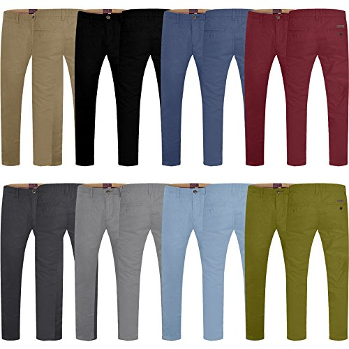 WestAce Mens Stretch Skinny Slim Fit Designer Trousers Chinos Soft Summer Colours New