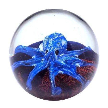 Pisapapeles Cristal Bola Pulpo, Azul, 10cm