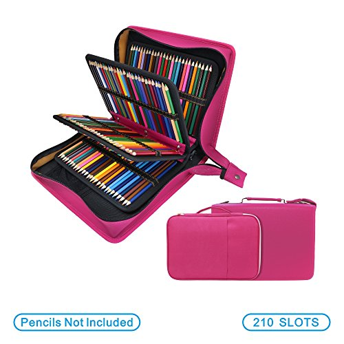 200 + 16-Bleistift-Federmäppchen, mit 2-Set für Prismacolor Aquarell Bleistifte, Crayola Buntstifte, Marco-Stifte und Kosmetikpinsel, YOUSHARES(Rot) - Crayola-gel
