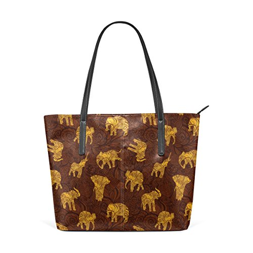COOSUN Los Elefantes en la India Estilo de Hombro Bolso de Cuero...
