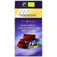 Maestrani Swiss Organic heidelbeere, Chia & Amaranth 60% Cacao, 80g