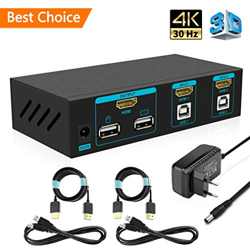 SGEYR 2x1 HDMI KVM Switch 4K 2 Port USB KVM Umschalter HDMI 2 In 1 Out Metallgehäuse mit Tastatur Maus Schalter|Auto Scan|Kabel Kits|Unterstützung 4K@30Hz 3D 1080P HDMI 1.4 Version