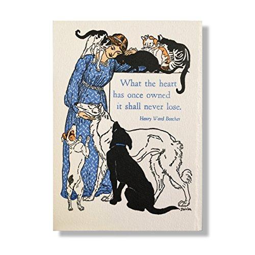 Letterpress Pet Dog Cat Mitgefühl Set 4Karten Rainbow Bridge Memorial -