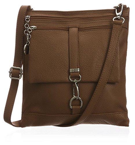 Big Handbag Shop Borsa a tracolla Messenger tipo cross-over in autentico Pelle Italiana 24x26x3 cm (LxAxP) Medium Tan (BH362)