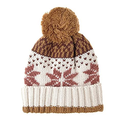 WITHMOONS Bonnet Knit Fairs Isle Nordic Bobble Pom Beanie Hat CR5128 (Ivory)