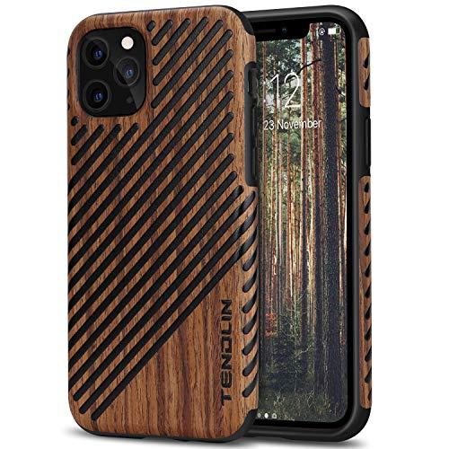 TENDLIN Funda iPhone 11 Pro Madera y Cuero Híbrido Carcasa Compatible con...