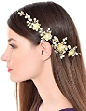 Chattons Silver Brass Golden Foldable Floral Stone Hair Clip With Pins For Women And Girls