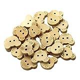 MagiDeal Naturbelassene Holzknöpfe Größe: ca. 18 bis 28 mm Knöpfe aus Holz Zum Scrapbooking, Nähen, Basteln und Dekorieren - Bärenkopf, 18mm