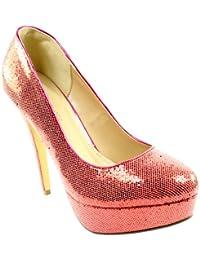 Femmes Sequin Bureau Platform High Heel chaussures de travail de la Cour