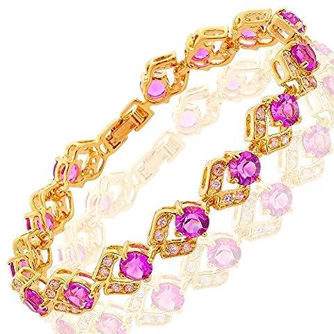 Riva Neu 18K Gelbgold Vergoldet Rund Lila Amethyst Elegante Geschenk Armband