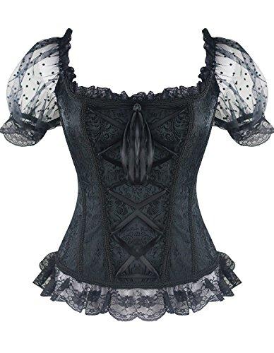 Burvogue kurzärmliges Top für Frauen im Gothic-Stil, Jacquard-Korsett, Steampunk (M, Schwarz) (Dot Top Polka Korsett)