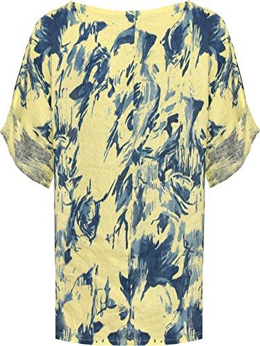 WEARALL Plus Damen Übergroß T-Shirt Top Damen Tie Farbstoff Spritzen Druck Kurz Hülle Ausgebeult - 44-54 Gelb