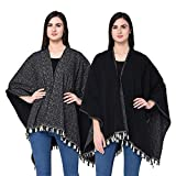 SKiDlers Women's Reversible Cape Poncho Shrug for Pleasant Monsoon / Women's Reversible Poncho(Free Size) / Women's Knitted Poly Cotton Reversible Poncho / Women's Reversible Cape Ponchu Shrug /Women's Reversible Poncho -Pack of 1