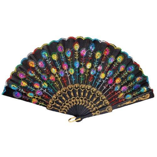 sodialr-abanico-plegable-tela-negra-bordado-patron-de-flores-colorida-para-mujeres