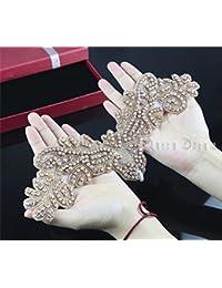 QueenDream - Vestido de novia con cristales de imitación para planchar