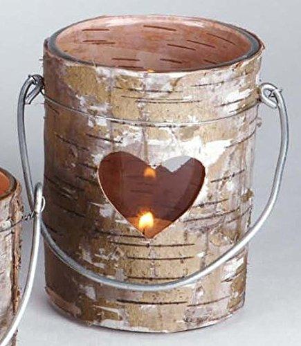 Visario Wind Luz portavelas de madera con Corteza con corazón y vaso de vidrio 10,5cm de altura Ø 8cm para colocar de pie o con banda de colgar width=