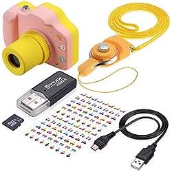 TR Turn Raise Appareil Photo Numérique pour Enfants, 1,5 Pouce LED 5 Mégapixels avec 8 Go Carte TF (Rose)