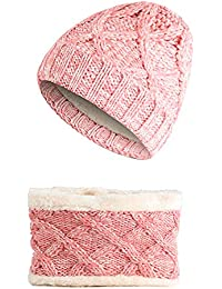 Doitsa niño Gorro de Punto Sombrero Bufanda Invierno cálido Cap Lana Grueso  elástico hervidor de Hat fe578f33da8