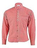 German Wear Trachtenhemd mit Edelweiß-Stickerei Stehkragen 100% Baumwolle, Größe:L, Farbe:Rot