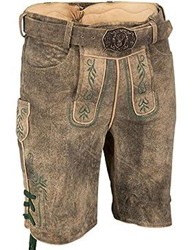 Herren Spieth & Wensky Kurze Lederhose mit Gürtel Geweih, braun,
