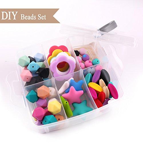 Best for baby Silikon Achteckige Perlen BPA frei Silikon Beißring DIY Set Armband Schnullerclip Halskette Montessori Spielzeug
