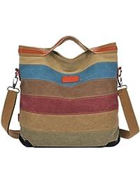 Panegy Damen Frauen Casual Tasche Mode Multi-Color Striped Canvas Schultertasche Fashion Ethnischen Stil Handtasche Für Büro Freizeit Outdoor und Reisen Farbe Wählbar