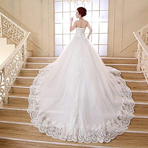 XM Hochzeitskleid Frühling und Sommer Krawatte Qi Qi großen schleppenden weißen Knoten Hochzeit Diamant Schmuck,Weiß,XXXL