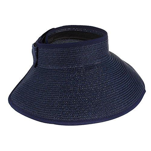 Butterme visière Chapeau Plage Pare-soleil chapeau Pliable Retroussez large Brim chapeaux de paille bleu marin