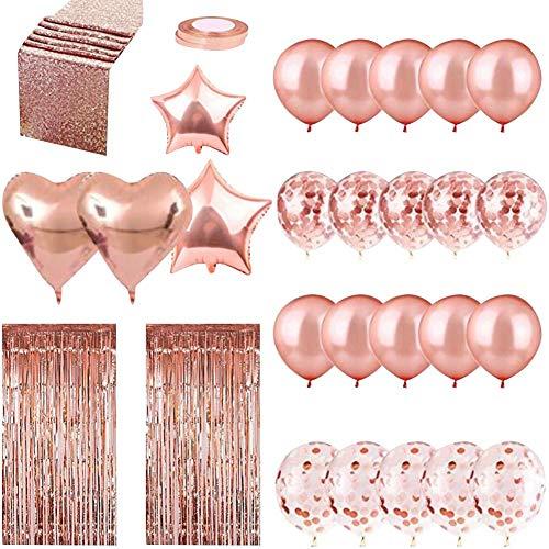 liuxi9836 12-Zoll-Konfetti-Ballon-Sets mit Tischfahnen-Pailletten für Hochzeits-Geburtstagsfeierdekorationen