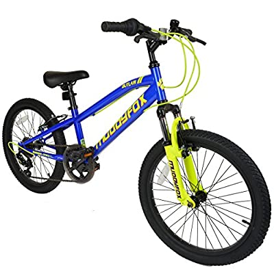 """Muddyfox Outlaw 20"""" Boys Hardtail Mountain Bike in Blue and Yellow with Front Suspension and 6 Speed Shimano Gears by MuddyFox"""
