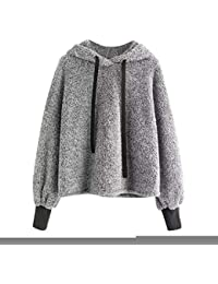 a6897c4455dbf Logobeing Sudaderas Mujer Blusas de Manga Larga para Mujer Hoodie Blusa de  Piel Sintética Suéter Capa Hoodies Pullover Outwear…
