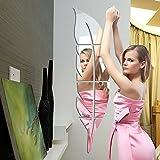 Feder 3D Acryl Spiegel Spiegel Wandspiegel ganzen Körper Spiegel Wasserdicht Deko Frisiertisch Vinyl Aufkleber Aufkleber & Wandmalereien für Badezimmer Schlafzimmer Wohnzimmer Deco, silber, Groß