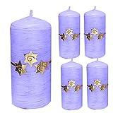 Weihnachten Kerzen Set 4 Stück Stumpenkerzen Adventskerzen 100x50 Dekokerzen Kerzen für Adventskranz Tischkerzen mit Sterne flieder gold andere Farben möglich IW15
