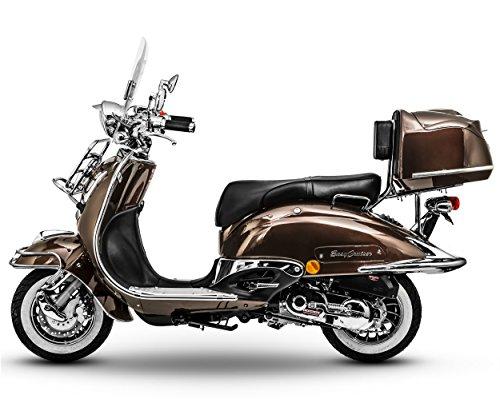 Preisvergleich Produktbild Retro Roller Easy Cruiser Chrom 50 ccm mokkabraun Motorroller Scooter Moped Mofa Easycruiser braun